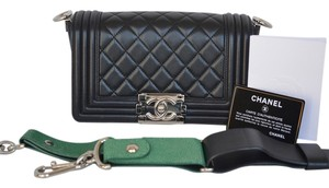 Chanel Small Lambskin Boy Stingray Green Accents Silver Hardware Rare Exotic Shoulder Bag