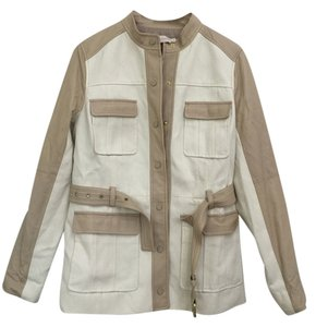 Tory Burch Cotton Belt Unique Military Classy Press Stud White and Latte Leather Jacket