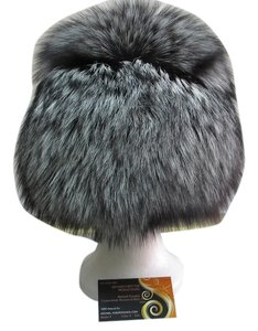 HAND MADE NATURAL SILVER FOX WOMEN'S HAT SIZE XL NEW WITH TAG