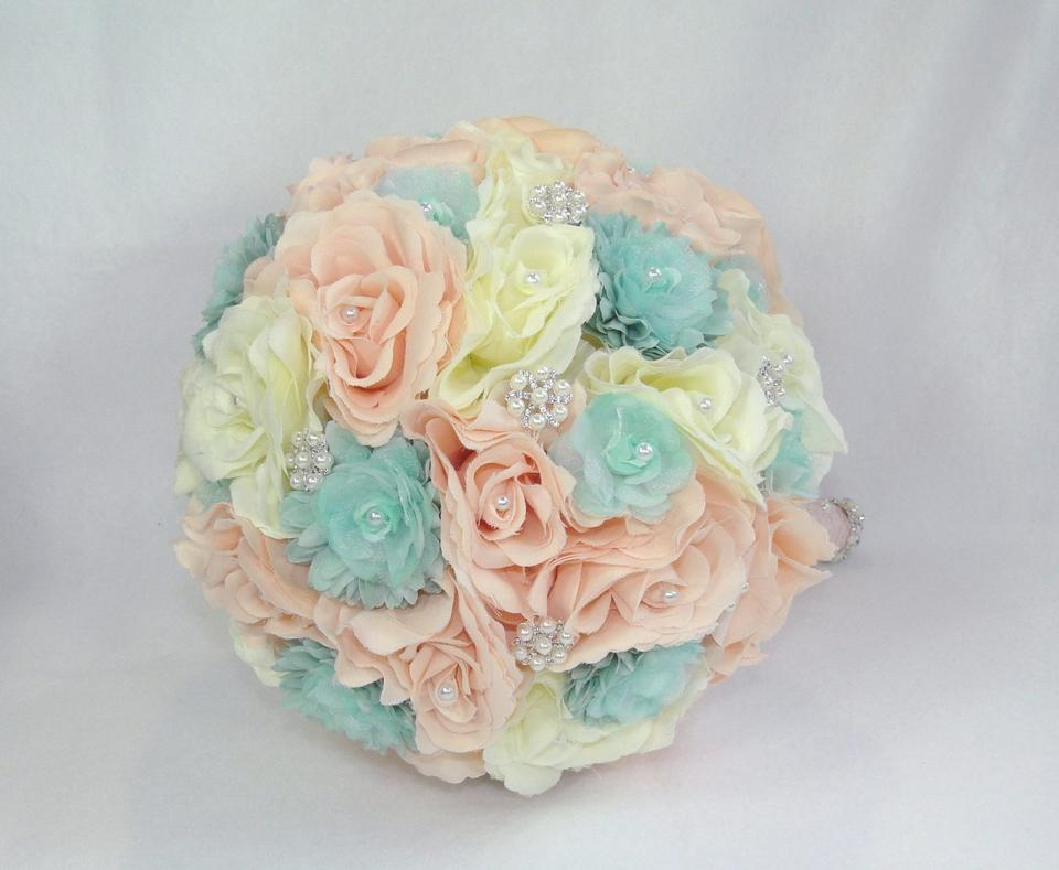 Bridal Brooch Cotton Candy Bouquet Romantic Ivory Peach And Mint Roses Shabby Chic Beach Wedding