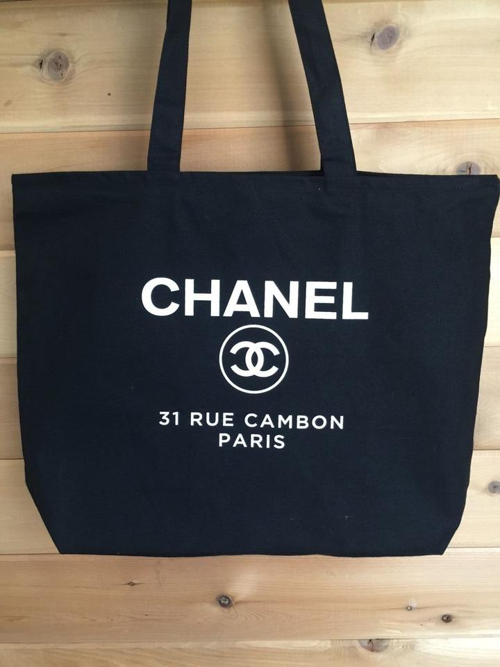 549692fc7379 Chanel Vip Xlarge Zippered Black Canvas Tote - Tradesy