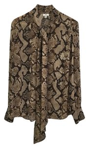 Altuzarra Snakeskin Neck Tie Long Sleeve Light Chiffon Rare Top Snakeskin brown