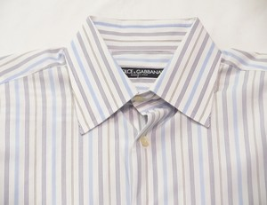 Dolce&Gabbana Men Blue And White Stripe Cotton Shirt