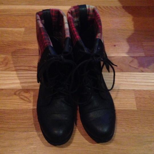 Diva Lounge Plaid Leather Red Black Boots