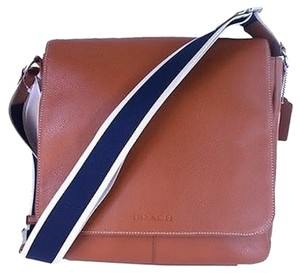 Coach Heritage Web Leather Map Luggage Brown Messenger Bag