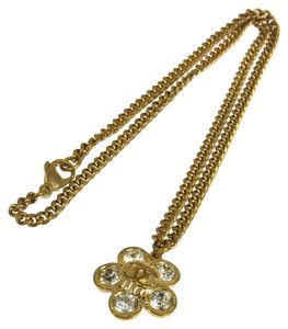 Chanel AUTHENTIC CHANEL VINTAGE CC LOGOS GOLD CHAIN RHINESTONE NECKLACE FRANCE