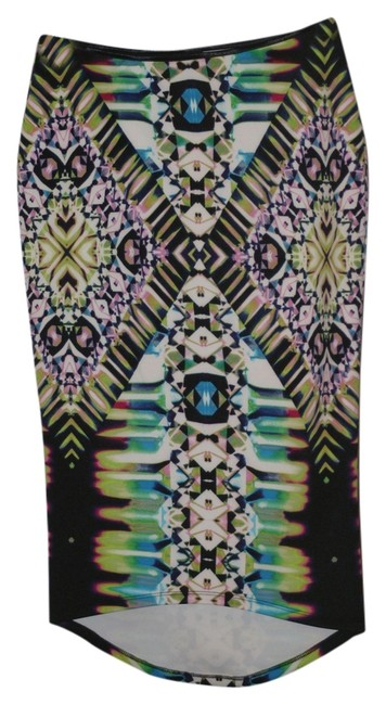 Bisou Bisou Date Print Pencil High Waisted Skirt Multi
