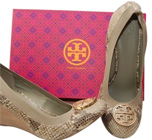 Tory Burch New New In Box Grey Snake Wedges
