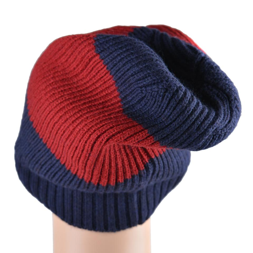 d9ae7d2c369 Gucci Blue Red Unisex Multi-color Wool Beanie One Size Hat - Tradesy