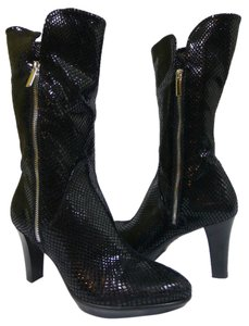 Aquatalia by Marvin K. Patent Leather Suede Mid Calf Black Boots