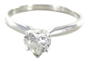 Other 14KT WHITE GOLD HEART DIAMOND 50 CARAT WEDDING RING ENGAGEMENT SZ 8.5 NO SCRAP
