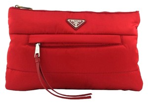 Prada Silver Hardware Nylon Logo Red Clutch