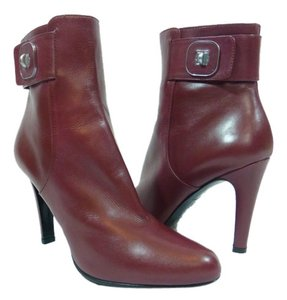 Longchamp Leather Ankle Burgundy Boots