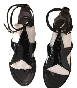 Brian Atwood Patent Black Sandals