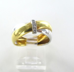 18kt Yellow White Gold Wedding Band Engagement Ring 3 Genuine Diamonds .3 Carat