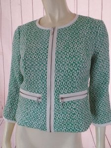 CAbi Cabi Blazer Green White Abstract Textured Cotton Rayon Blend Shorty Chic