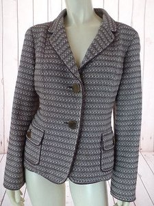 Talbots Talbots Blazer Brown Cream Textured Wool Cotton Blend Button Front Classy