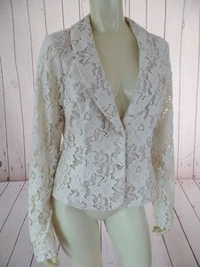 CAbi Cabi Blazer Beige Lace Cotton Nylon Blend Button Front Sheer Sleeves Chic