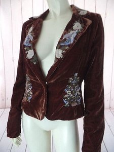 True Meaning True Meaning Velvet Blazer Rust Rayon Poly Blend Floral Embroidery Boho Chic