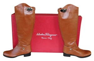 Salvatore Ferragamo Riding Calfskin Leather Tan Tan Calf Boots