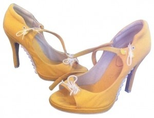 Playboy Yellow & White Platforms