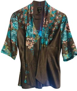 Tracy Reese Flowery Top Brown with blue and pink floral pattern