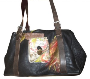 Catherine Parra Hand Painted Leather Unique Ooak Two Tone Leather Sun Abstract Eclectic Euro Style Statement Piece Artist Satchel in Black