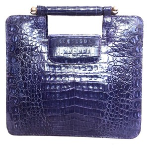Other Navy Crocodile Alligator Tote in Navy/Purple
