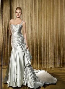 Silver Satin Formal Wedding Dress Size 8 (M)