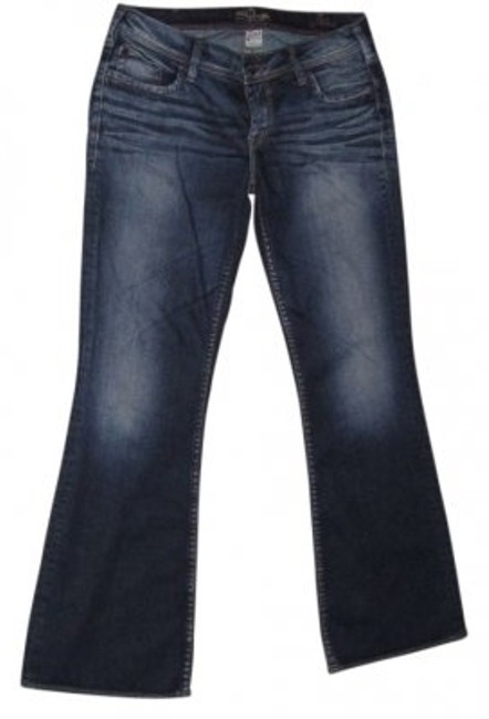 Preload https://item3.tradesy.com/images/silver-jeans-co-dark-blue-distressed-wash-rinse-aiko-flare-leg-jeans-size-31-6-m-9997-0-0.jpg?width=400&height=650