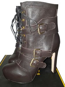 Pour La Victoire Brown Strappy Lace Leather Chocolate Boots