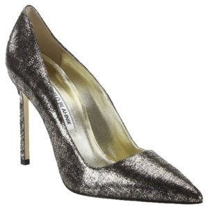Manolo Blahnik Metallic Gold Bb BROWN BLACK Pumps