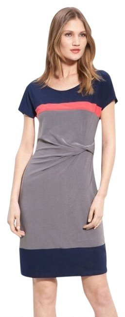 Item - Blue Pink Gray Twist Colorblock Above Knee Work/Office Dress Size 2 (XS)