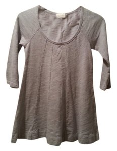 Anthropologie Grey Striped Scoop Neck T Shirt Gray