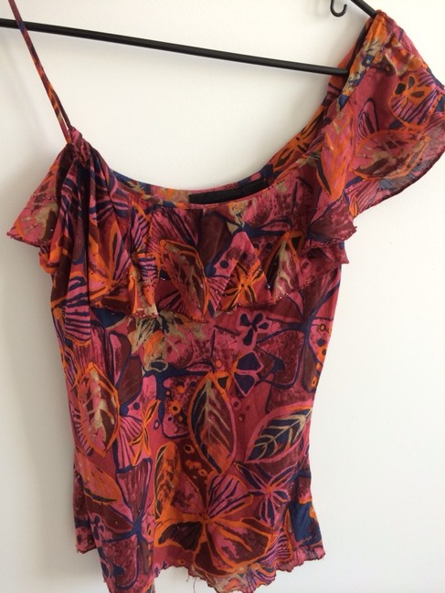 DKNY Ruffle Ruffle Flirty Colorful Tropical Sequins Leaf Jeans Small Vacation Multicolor Orange Tropical Vacation Cute Top Multi