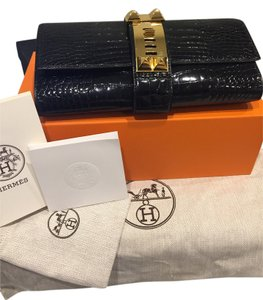 Hermès Crocodile Gold Hardware Medor Black Clutch
