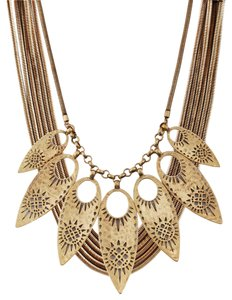 Lucky Brand Necklace Hammered Cutout Leaves Statement