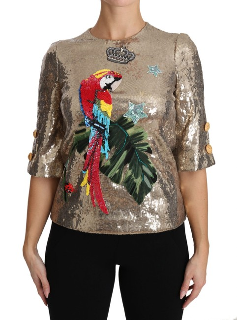 Item - Dolce & Gabbana Gold Sequined Parrot Crystal Blouse Top