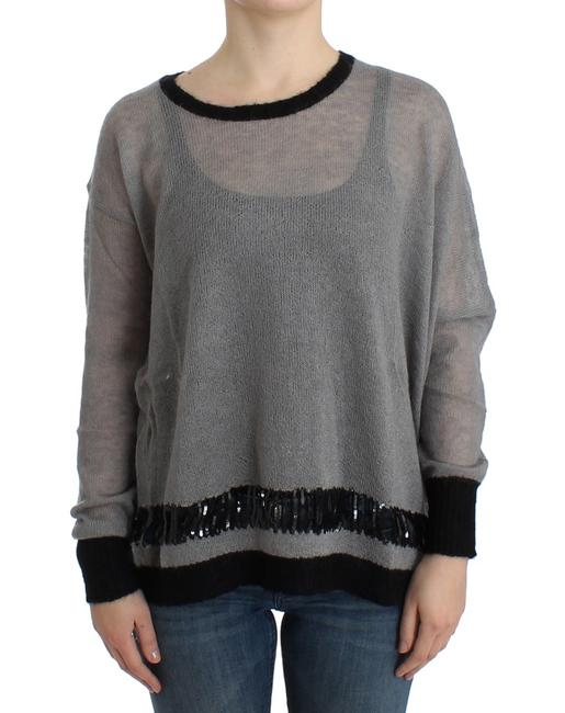 Item - Gray Embellished Asymmetric Sweater/Pullover