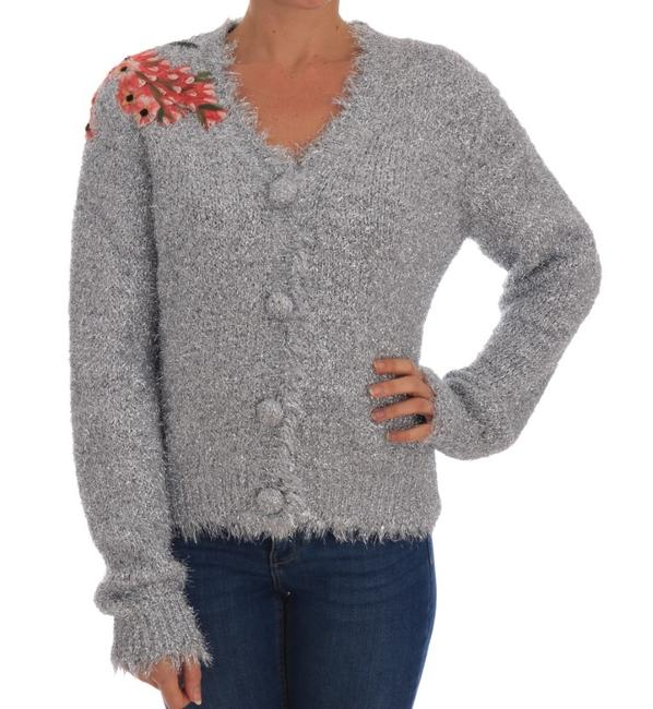 Item - Silver Cardigan Floral Applique Sweater/Pullover