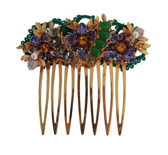 Item - Dolce & Gabbana Gold Crystal Floral Fly Comb One Size Hair Accessory