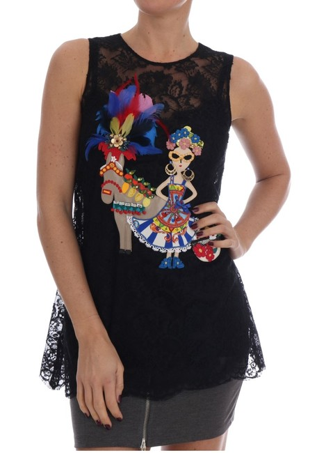 Item - Dolce & Gabbana Black Sicily Embroidered Lace Blouse Top