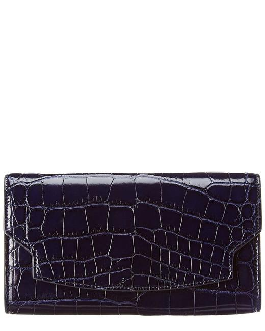 Item - Lady Croc-embossed Leather Wallet W1223e33 Navy Accessory