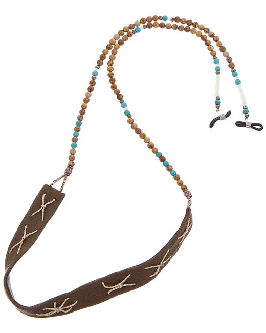 Item - Tan & Turquoise Eye Glass Necklace Jwl14118-4 Jewelry