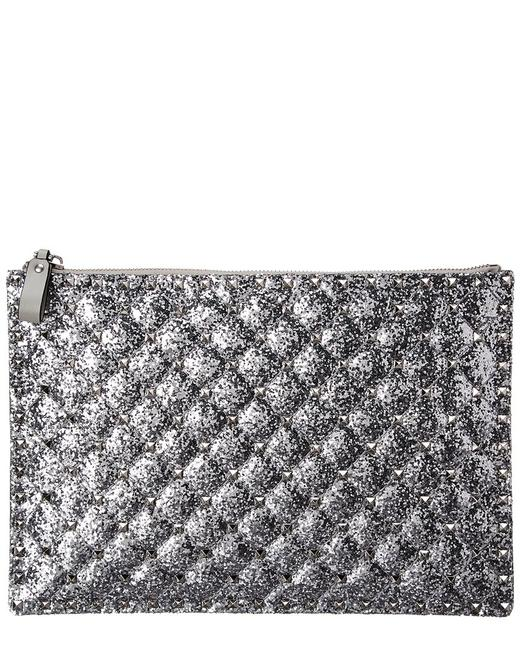 Item - Rockstud Spike Glitter & Leather Pouch Uw2p0u11 Lvr D00 Wallet