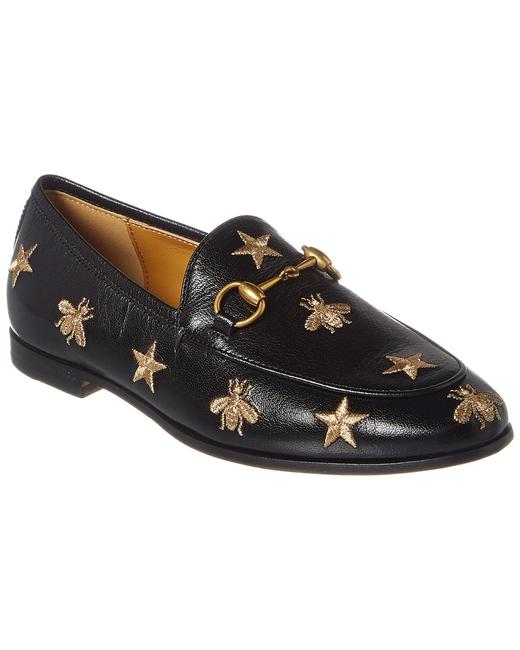 Gucci Jordaan Bees & Stars Embroidered Leather 505281 D3v00 Loafers Gucci Jordaan Bees & Stars Embroidered Leather 505281 D3v00 Loafers Image 1