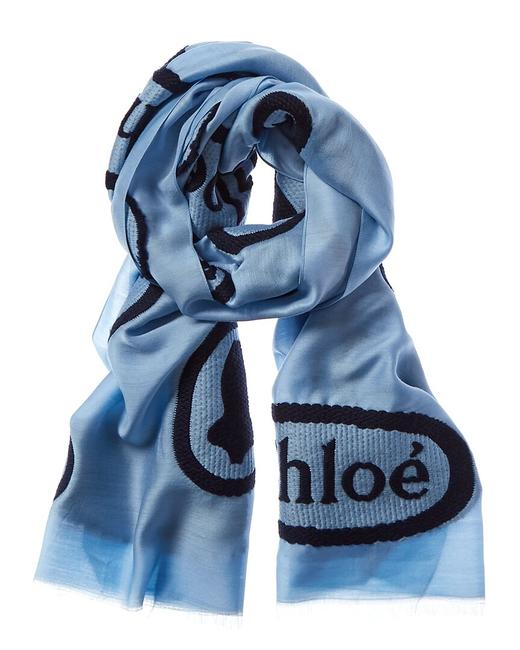 Chloé Embroidered Wool Silk-blend Chc19wt043 Pq6 40s Scarf/Wrap Chloé Embroidered Wool Silk-blend Chc19wt043 Pq6 40s Scarf/Wrap Image 1