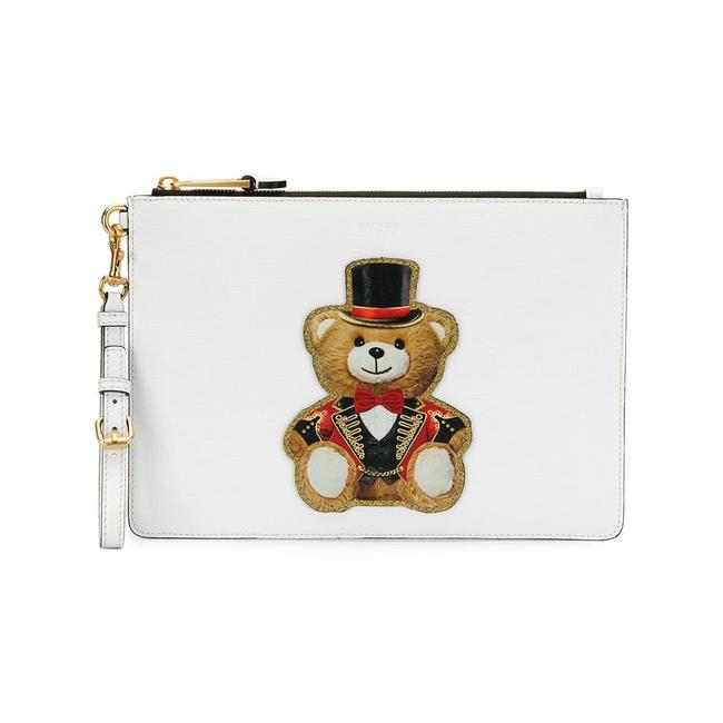 Item - Clutch Couture Leather Teddy Circus Bag White Handbag Tote