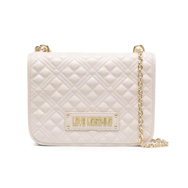Item - Love Leather Strap Quilted Nappa Effect Cream Handbag Tote