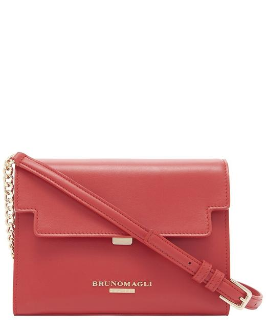 Item - Chain Flap Leather F0323sm-smooth-red Cross Body Bag